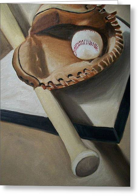 Baseball Paintings Greeting Cards - Baseball Greeting Card by Mikayla Henderson