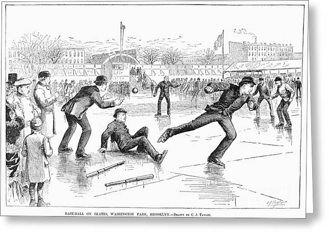 Baseball On Ice, 1884 Greeting Card by Granger
