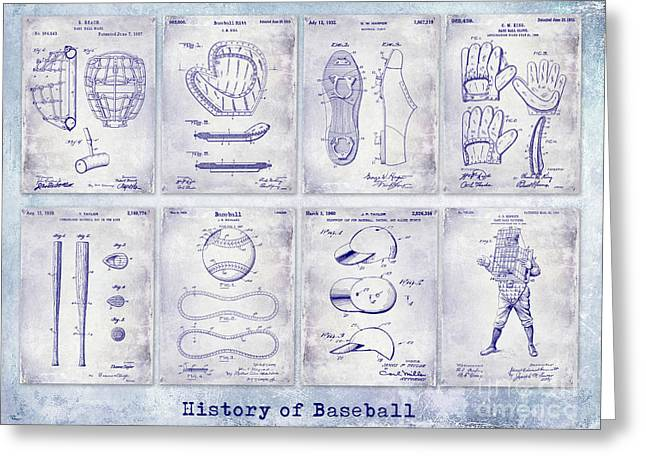 Baseball Patent History Blueprint Greeting Card by Jon Neidert