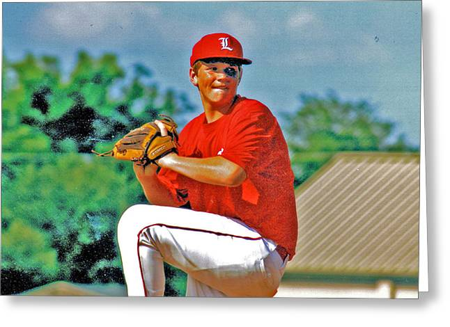 Baseball Pitcher Greeting Card by Marilyn Holkham