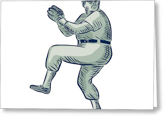 Legs Up Greeting Cards - Baseball Pitcher Pitching Etching Greeting Card by Aloysius Patrimonio