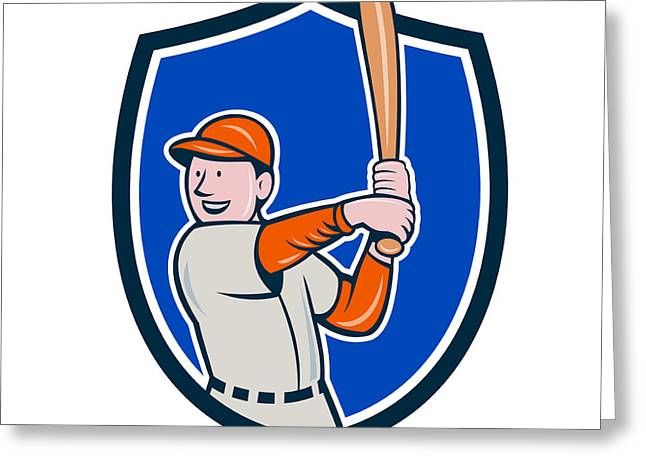 Batting Helmet Greeting Cards - Baseball Player Batting Stance Crest Cartoon Greeting Card by Aloysius Patrimonio