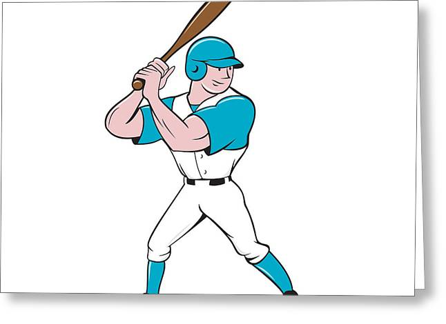Batting Helmet Greeting Cards - Baseball Player Batting Stance Isolated Cartoon Greeting Card by Aloysius Patrimonio