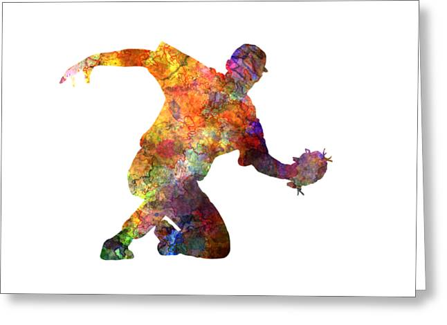 Batter Paintings Greeting Cards - Baseball Player Catching A Ball Greeting Card by Pablo Romero