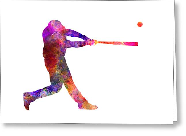 Batter Paintings Greeting Cards - Baseball player hitting a ball 01 Greeting Card by Pablo Romero