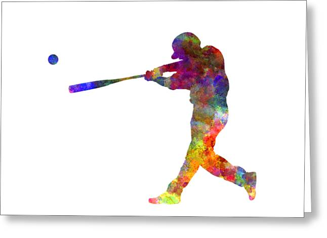 Batter Paintings Greeting Cards - Baseball player hitting a ball 02 Greeting Card by Pablo Romero