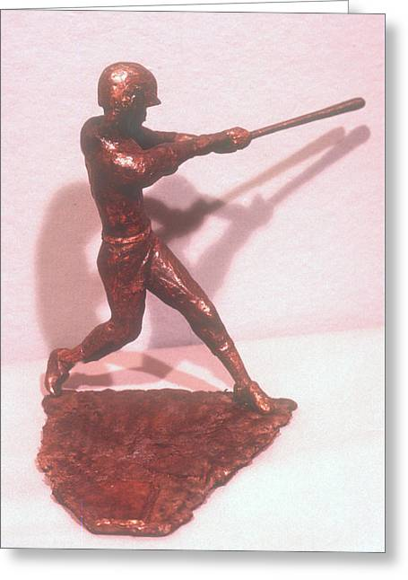 Sport Sculptures Greeting Cards - Baseball Player Greeting Card by Janet  Lipp