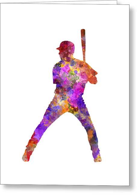 Baseball Player Waiting For A Ball Greeting Card by Pablo Romero
