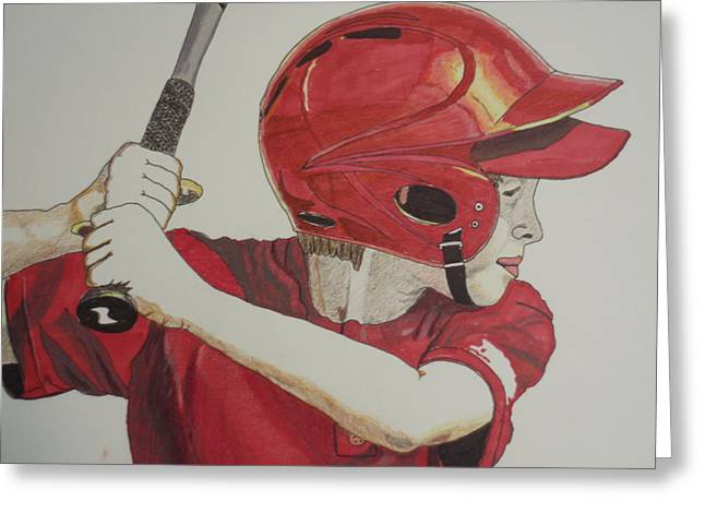 Little League Drawings Greeting Cards - Baseball Ready 2 Greeting Card by Michael Runner