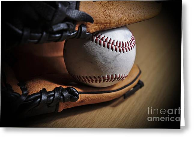 Baseball Glove Greeting Cards - Baseball Season Greeting Card by Angelo DeVal