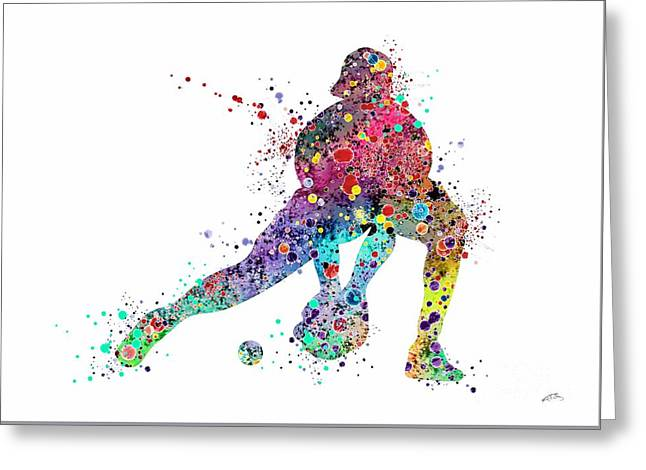 Baseball Softball Catcher Sports Art Print Greeting Card by Svetla Tancheva