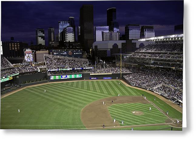 Twins Baseball Greeting Cards - Baseball Target Field  Greeting Card by Paul Plaine