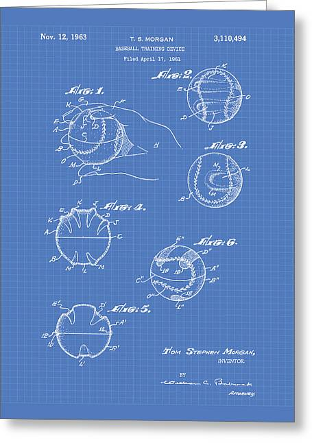 Baseball Glove Greeting Cards - Baseball training device 1963 Patent Art - Blueprint Greeting Card by Ray Tawer