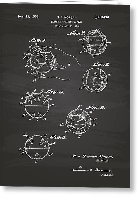 Baseball Glove Greeting Cards - Baseball training device 1963 Patent Art - Chalkboard Greeting Card by Ray Tawer