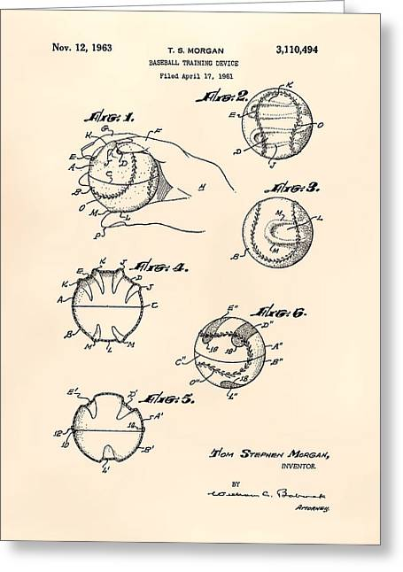 Baseball Glove Greeting Cards - Baseball training device 1963 Patent Art - Old Peper Greeting Card by Ray Tawer