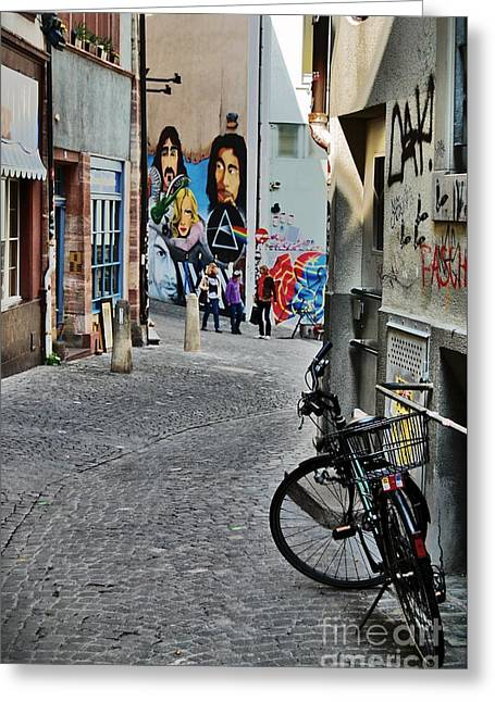 Swiss Photographs Greeting Cards - Basel - Switzerland - Bike and Street Greeting Card by Carlos Alkmin