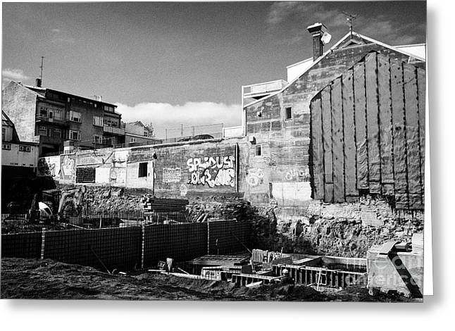 basement construction underway in new building in downtown reykjavik Iceland Greeting Card by Joe Fox