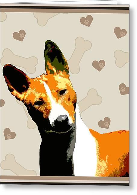 Basenji Greeting Card by One Rude Dawg Orcutt