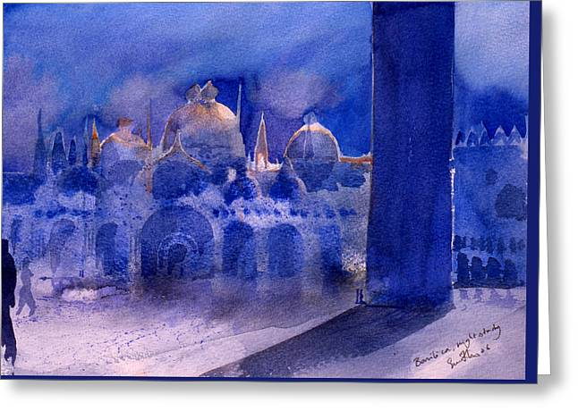 Violet Blue Greeting Cards - Basilica Night Study Greeting Card by Simon Fletcher