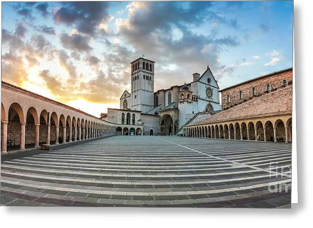 Historic Architecture Greeting Cards - Basilica of St. Francis of Assisi at sunset, Assisi, Umbria, Ita Greeting Card by JR Photography