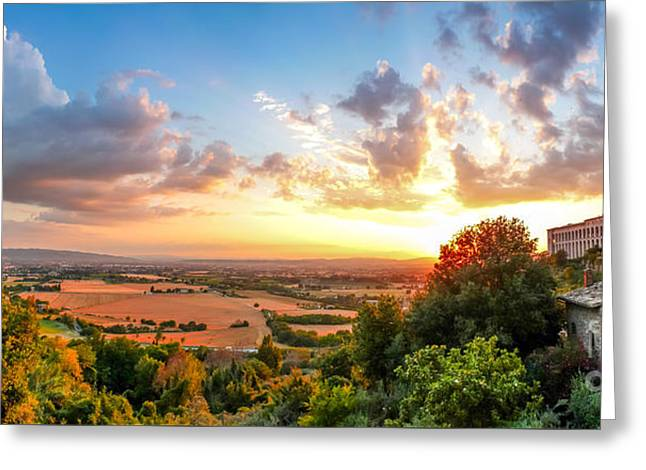 San Francesco Greeting Cards - Basilica of St. Francis of Assisi at sunset, Umbria, Italy Greeting Card by JR Photography