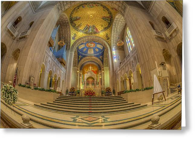 Byzantine Greeting Cards - Basilica of the National Shrine Main Altar Greeting Card by Susan Candelario