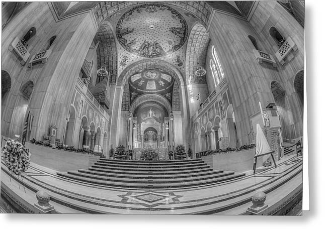 Byzantine Greeting Cards - Basilica of the National Shrine Main Altar BW Greeting Card by Susan Candelario