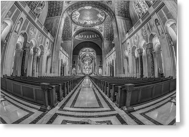 Byzantine Greeting Cards - Basilica of the National Shrine of the Immaculate Conception BW Greeting Card by Susan Candelario