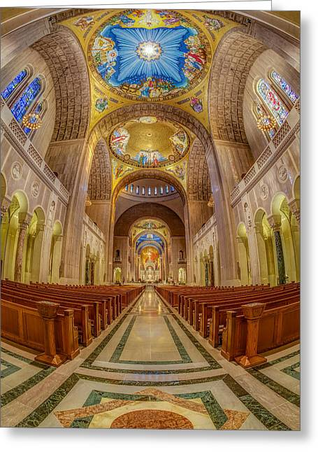 Byzantine Greeting Cards - Basilica of the National Shrine of the Immaculate Conception II Greeting Card by Susan Candelario