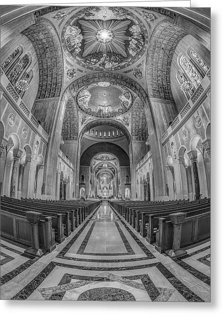 Byzantine Greeting Cards - Basilica of the National Shrine of the Immaculate Conception IIB Greeting Card by Susan Candelario