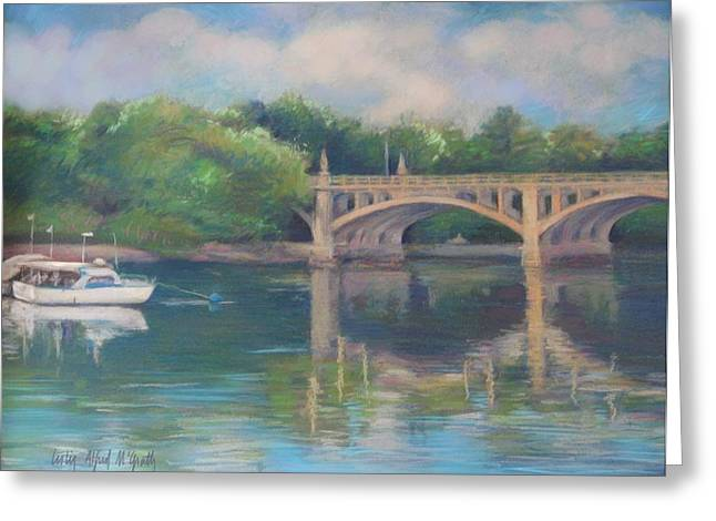 Nautical Pastels Greeting Cards - Basiliere Bridge Haverhill MA Greeting Card by Leslie Alfred McGrath