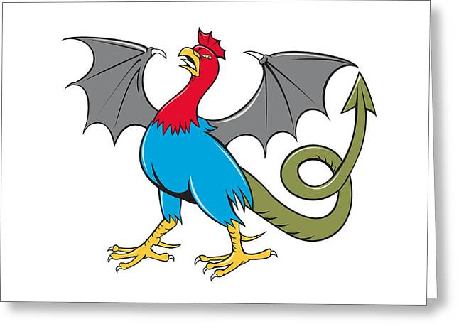 Bat Wings Greeting Cards - Basilisk Bat Wing Crowing Cartoon Greeting Card by Aloysius Patrimonio