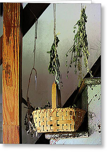 Cuisine Greeting Cards - Basket and Drying Herbs Greeting Card by Susan Savad