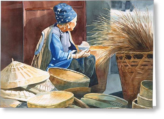 Basket Maker Greeting Card by Sharon Freeman