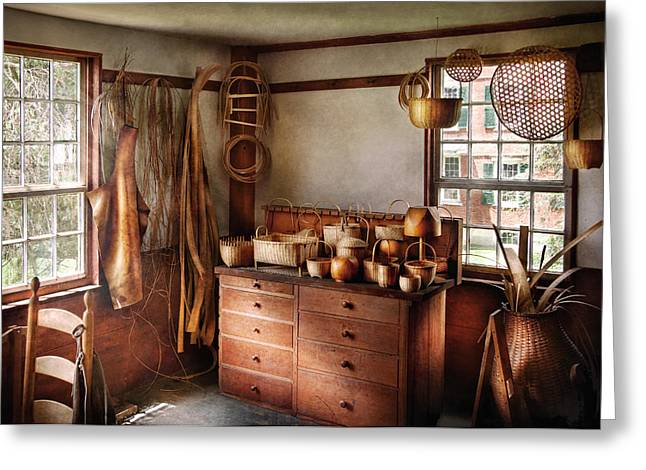 Apron Greeting Cards - Basket Maker - The basket makers house  Greeting Card by Mike Savad