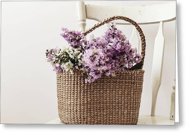 Basket Of Crape Myrtle Greeting Card by Kim Hojnacki