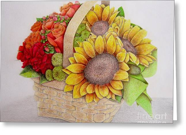 Coloured Greeting Cards - Basket of Flowers Greeting Card by Sharon Patterson