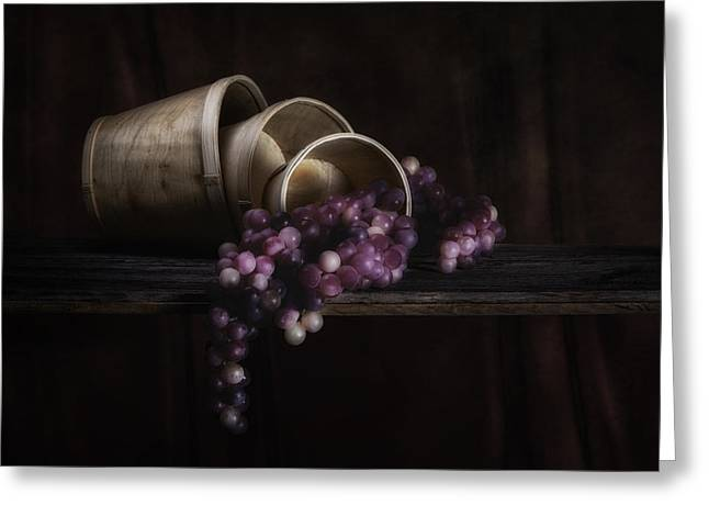 Basket Photographs Greeting Cards - Basket of Grapes Still Life Greeting Card by Tom Mc Nemar