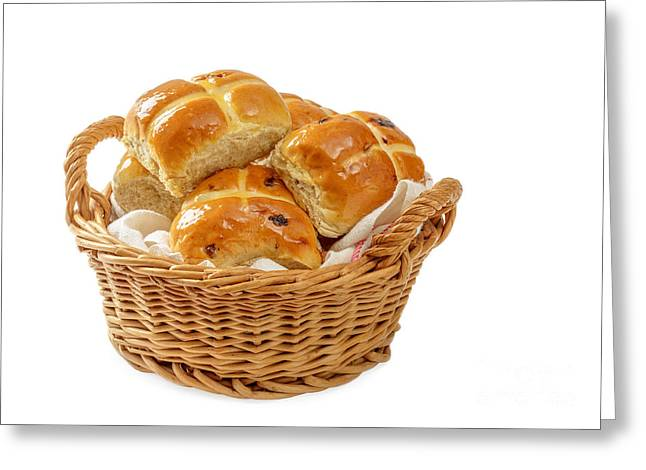 Bun Photographs Greeting Cards - Basket Of Hot Cross Buns Greeting Card by Amanda And Christopher Elwell