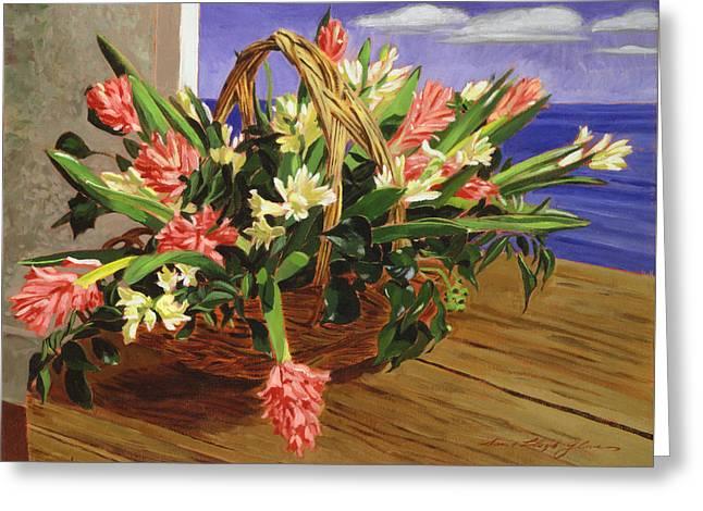 Basket Of Hyacinths Greeting Card by David Lloyd Glover