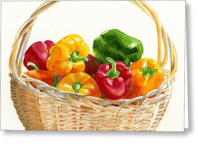 Square Format Greeting Cards - Basket of Peppers Square Design Greeting Card by Sharon Freeman