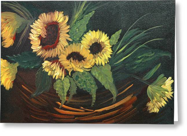 Sun Reliefs Greeting Cards - Basket of Sun Flowers Greeting Card by Joseph Kozenczak