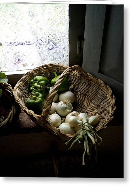 Chianti Greeting Cards - Basket Of Vegetables On A Kitchen Shelf Greeting Card by Todd Gipstein