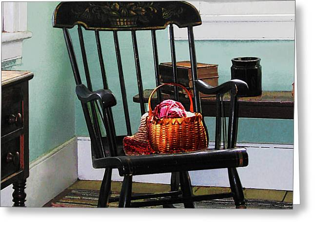 Basket of Yarn on Rocking Chair Greeting Card by Susan Savad