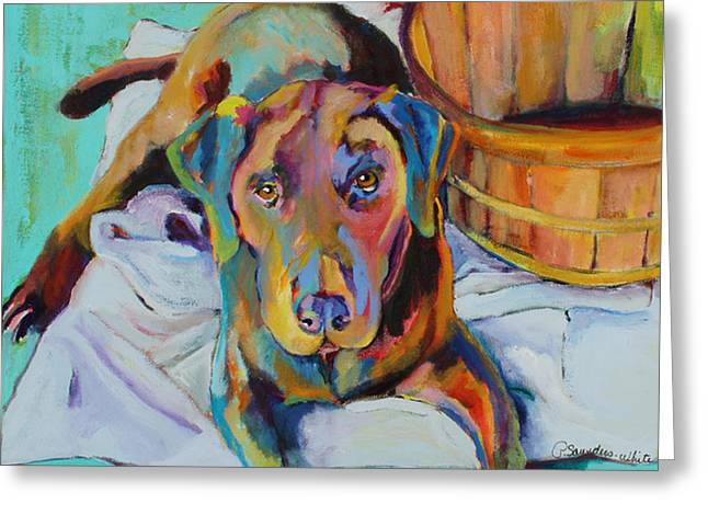 Chocolate Lab Greeting Cards - Basket Retriever Greeting Card by Pat Saunders-White