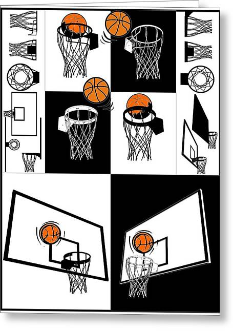 Basket Ball Game Greeting Cards - Basketball And Backboard Greeting Card by Nenad  Cerovic