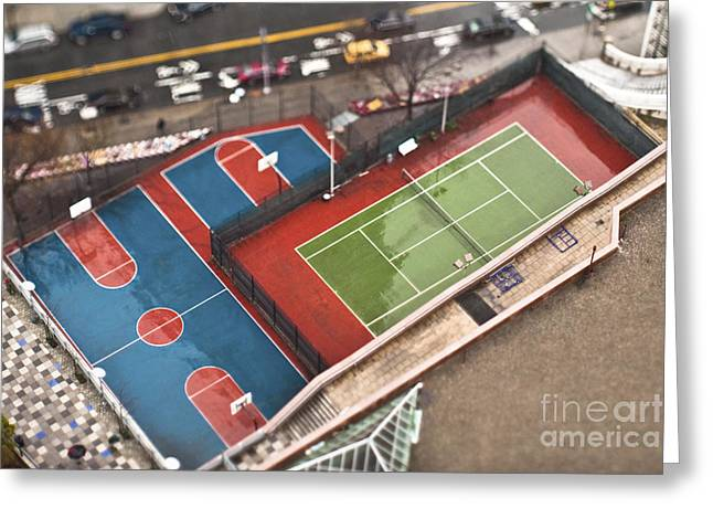 Leisure Time Greeting Cards - Basketball and Tennis Courts Greeting Card by Eddy Joaquim