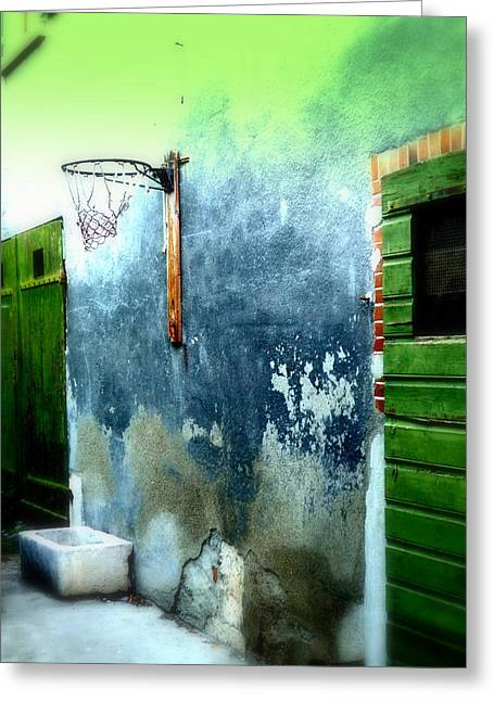 Basketball Abstract Greeting Cards - Basketball Court Greeting Card by Funkpix Photo Hunter