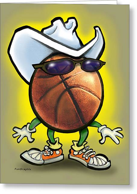 Basketball Cowboy Greeting Card by Kevin Middleton