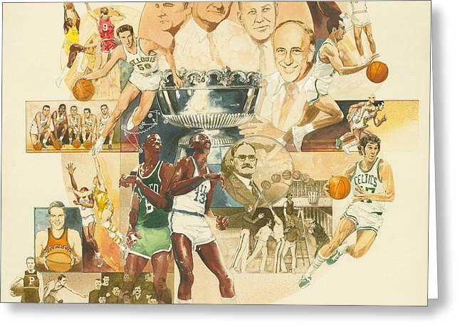 Basketballs Paintings Greeting Cards - Basketball Greeting Card by Don  Langeneckert